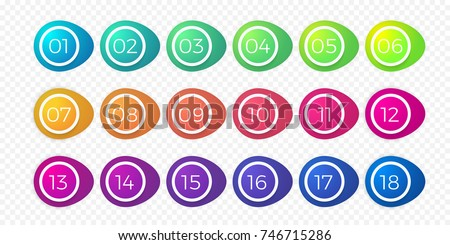 Number bullet point flat color gradient web icons set 1 to 18. Vector isolated step circle buttons or number bullet buttons of round white outline bubbles template on transparent background