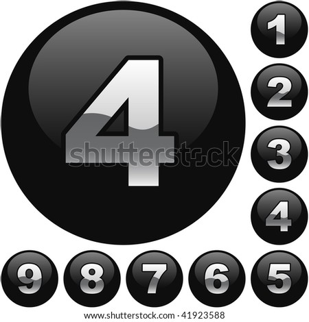 Number buttons. Vector set. - stock vector