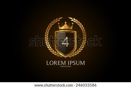 Number 4 crest logo. Vector logotype design. - stock vector