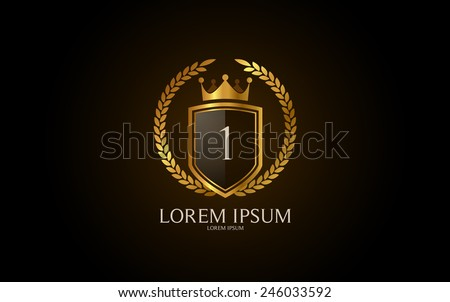 Number 1 crest logo. Vector logotype design. - stock vector