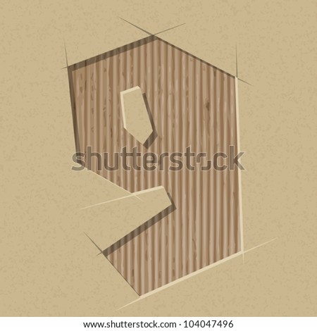 Number 9 cut out on a cardboard. Vector paper alphabet - stock vector