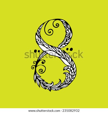 Number eight, vector illustration - stock vector