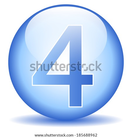 Number four button on white background.