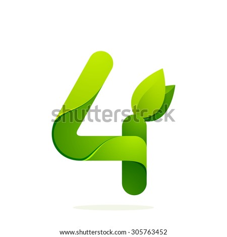 Number four with green leaves. Vector design template elements for your application or corporate identity. - stock vector