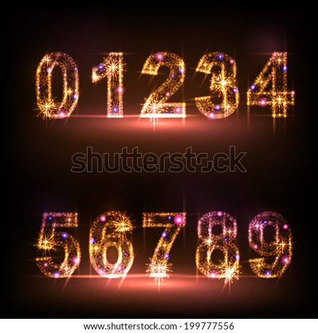 Number from 0 to 9 over black background. - stock vector