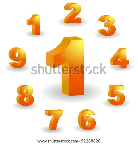 Number icons. Vector 3D set. - stock vector