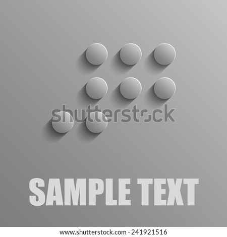 Number 7 in Braille on a gray background - stock vector
