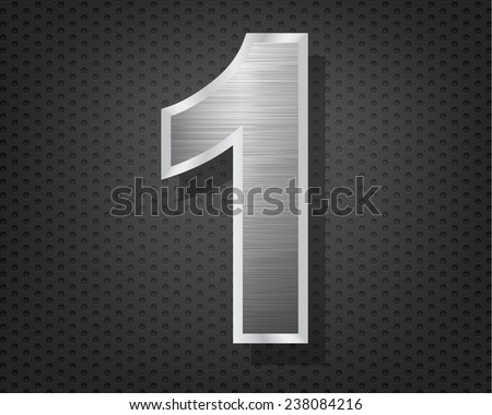Number 1 in brushed steel isolated on black hexagon pattern background