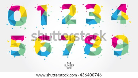 Number letter polygon concept. Number one to nine letter. - stock vector