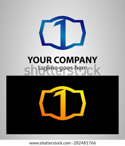 Number logo design.Number one logo.Logo 1 vector template  - stock vector