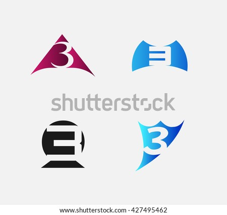 Number 3 logo. Vector logotype design set