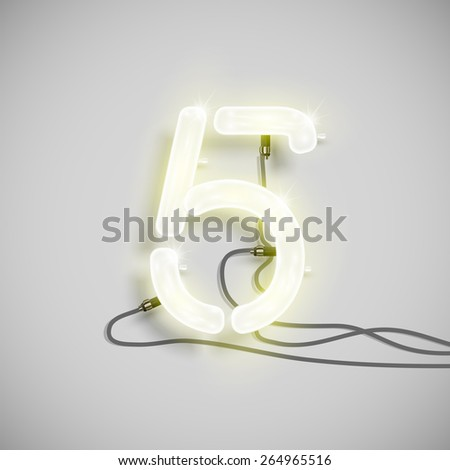 Number made by neon font, vector - stock vector