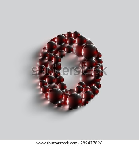 Number made by red spheres, vector - stock vector