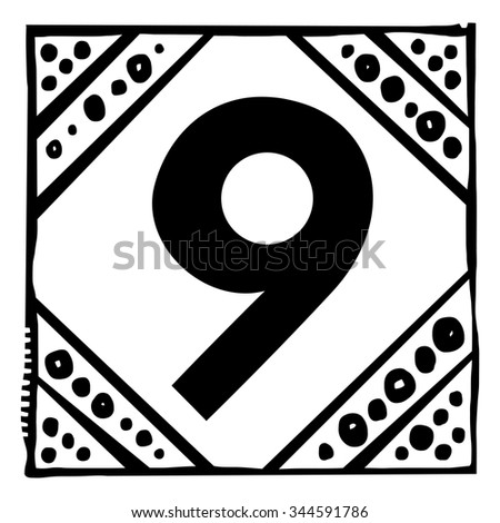 Number nine as abstract woodcut style pattern. Vector design element illustration - stock vector