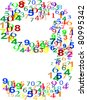 Number Nine 9 isolated over white and made from many colorful numbers. vector - stock vector