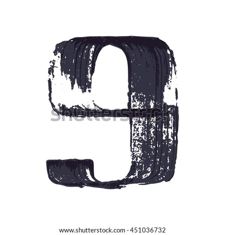 Number nine logo hand drawn with dry brush. Vector grunge style design elements for T-shirt, label, badge, card or poster.