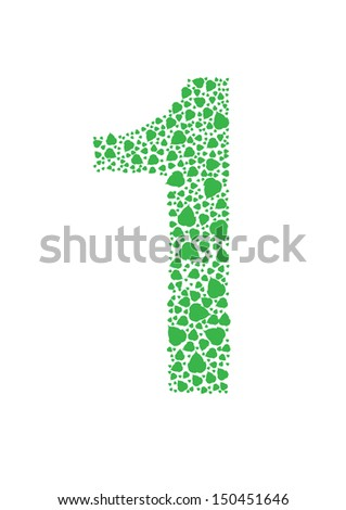 Number of green leaves vector - stock vector