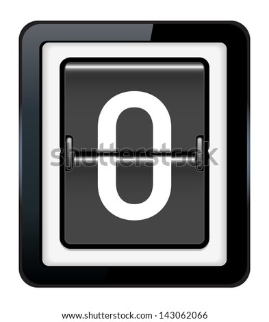 Number 0 on a mechanical timetable - stock vector