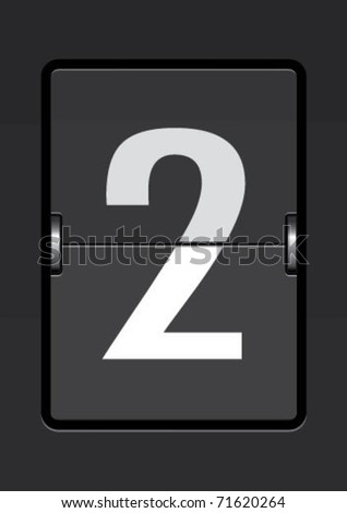 number  2 on a mechanical timetable - stock vector
