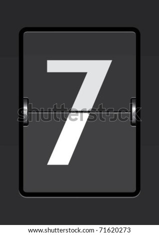 number  7 on a mechanical timetable - stock vector