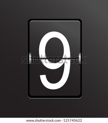 Number 9 on black panel background vector. - stock vector