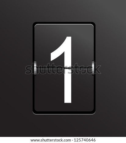 Number 1 on black panel background vector. - stock vector