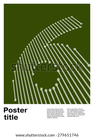 Number 6 on Swiss Poster - stock vector