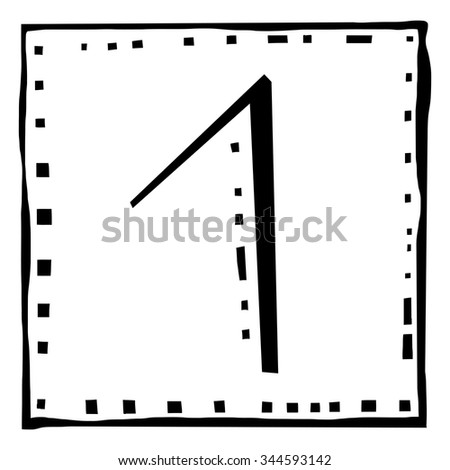 Number one as abstract woodcut style pattern. Vector design element illustration - stock vector