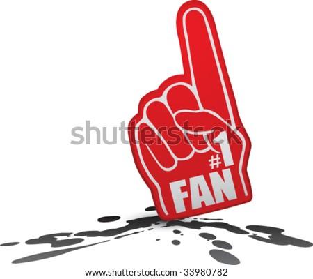 number one fan foam hand on splat - stock vector