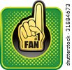 number one fan foam hand web button - stock vector