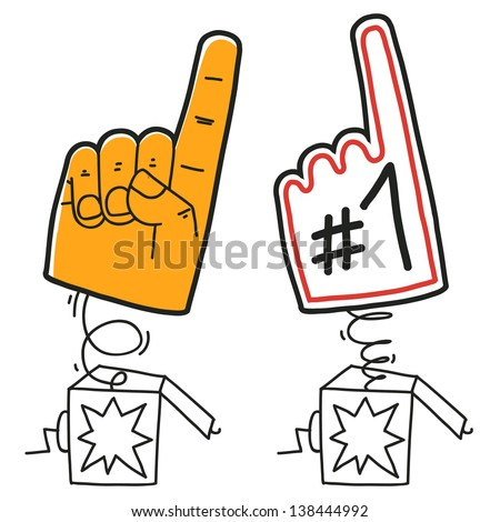 number one finger glove in surprise box. cartoon illustration isolated on white background - stock vector