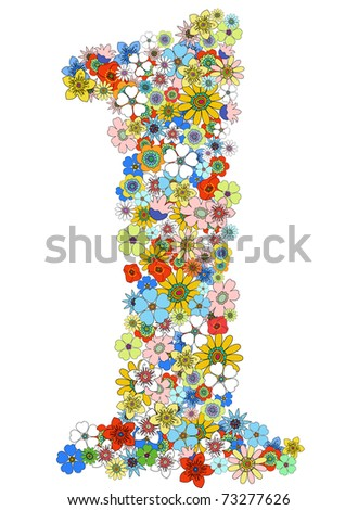 Number one floral, vector. See more on my portfolio - stock vector