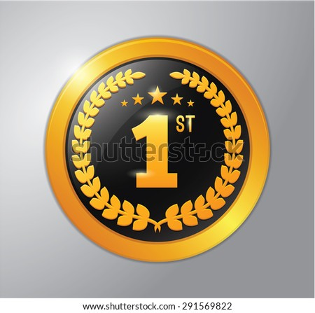 Number one gold medal - stock vector