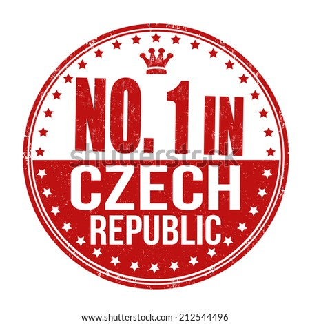 Number one in Czech Republic grunge rubber stamp on white background, vector illustration - stock vector