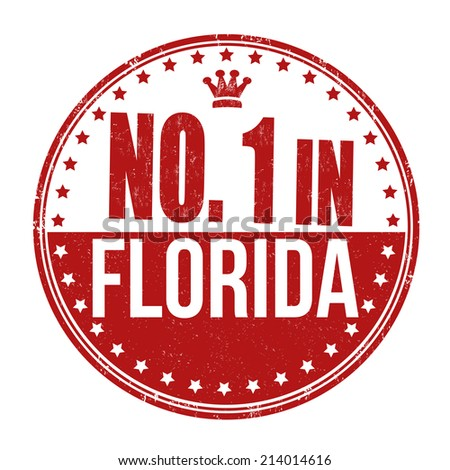 Number one in Florida grunge rubber stamp on white background, vector illustration - stock vector