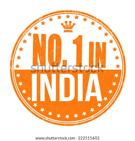 Number one in India grunge rubber stamp on white background, vector illustration - stock vector