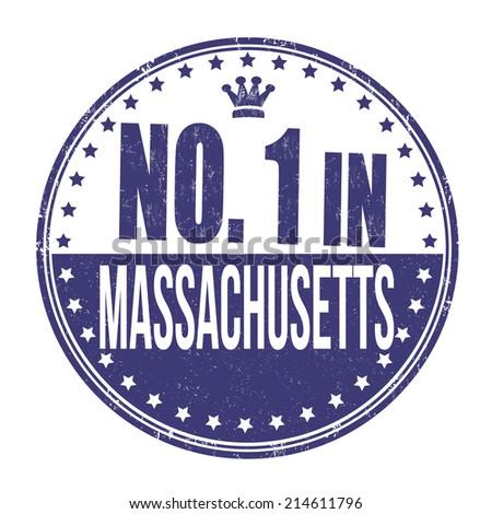 Number one in Massachusetts grunge rubber stamp on white background, vector illustration - stock vector