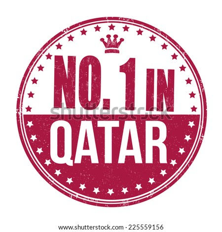 Number one in Qatar grunge rubber stamp on white background, vector illustration - stock vector