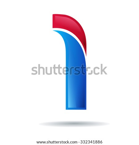 Number one logo.blue and red glossy style.Vector design template elements for your application or company.