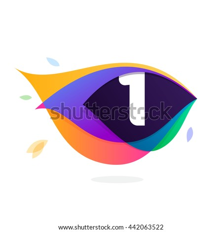 Number one logo in peacock feather icon. Colorful vector design for banner, presentation, web page, app icon, card, labels or posters. - stock vector
