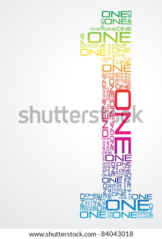 Number one made from colorful words - stock vector
