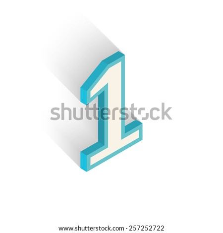 Number one on white background. Isometric icon. Vector illustration - stock vector