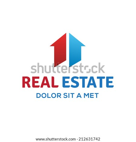 Number one 1 real estate sign logo icon design template with house and arrow. Vector color sign. - stock vector