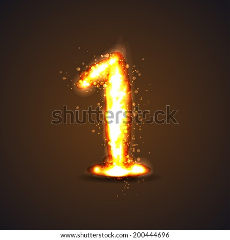number one with light effect - stock vector