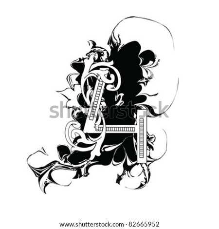 number 4 ornate - stock vector