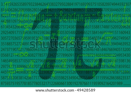 Number Pi first thousand value - stock vector