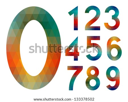 Number set from colorful mosaic isolated on white - stock vector