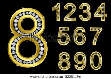 Number set, from 1 to 9, golden with diamonds, vector illustration - stock vector