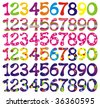 Number set with abstract patterns. Vector illustrations. - stock photo