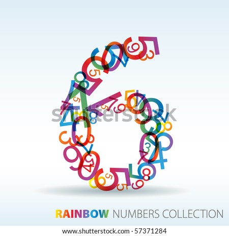 Number six made from colorful numbers -  check my portfolio for other numbers - stock vector